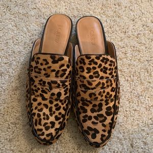 J. Crew Calf Hair Leopard Print Mules 9